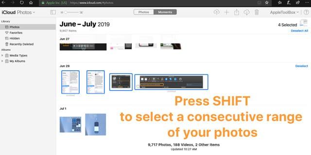 iCloud.com select a consecutive range of photos from Windows