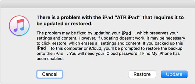 restore or update iPad with error message there is a problem with this iPad