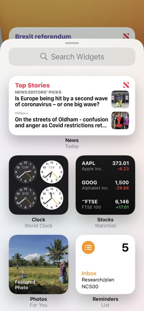 Available Widgets on iPhone