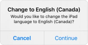 Change to English (Canada) confirmation pop-up