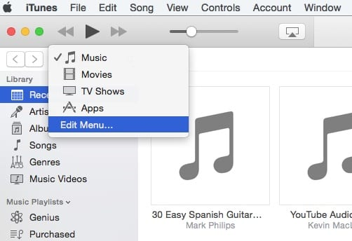 Edit Menu in iTunes 12.4