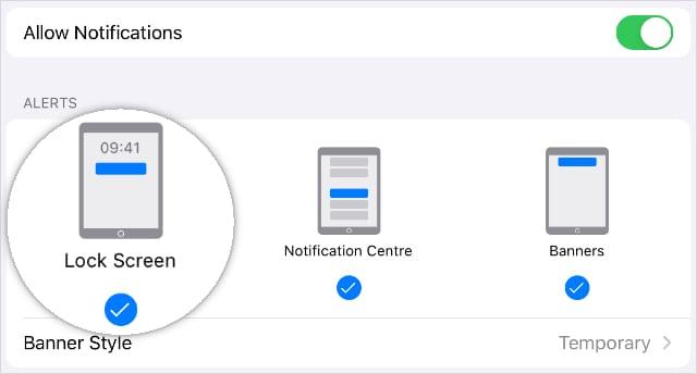 Lock Screen Notification settings on iPad