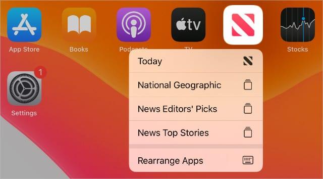 Rearrange Apps in pop-up window on iPad Home screen