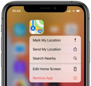 Remove app option from Home screen on iPhone
