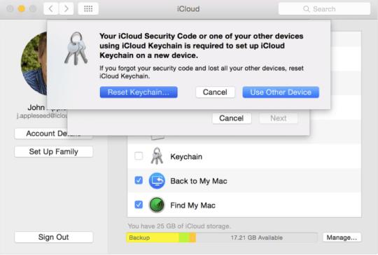 iCloud keychain verification code