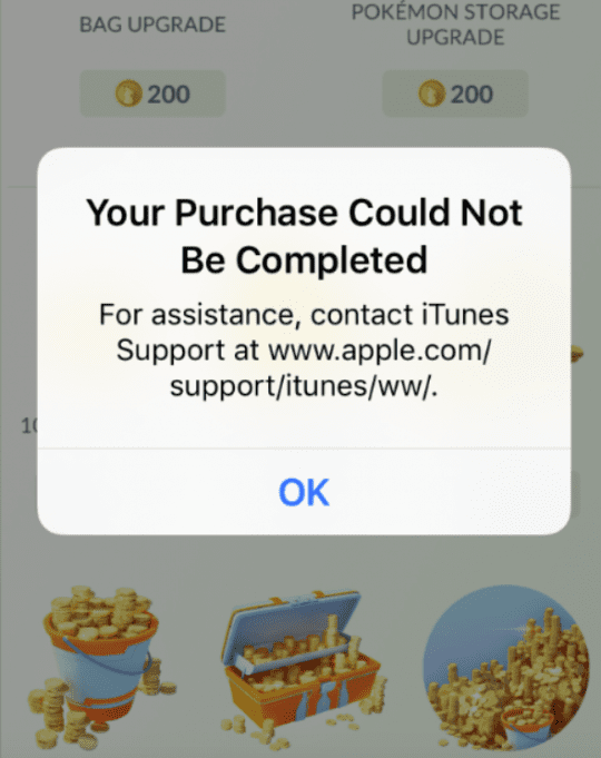 Cannot purchase pokecoins
