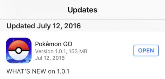 Updated Pokemon Go