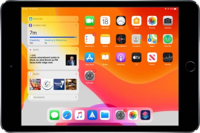 Widgets on the Home screen of iPad