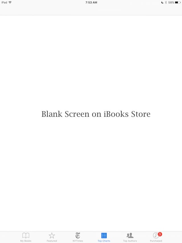 iBooks Store blank Screen how-To Fix