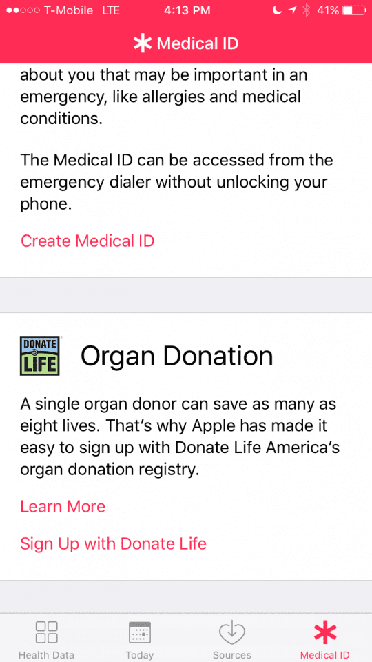 Medical Id in IOS 10