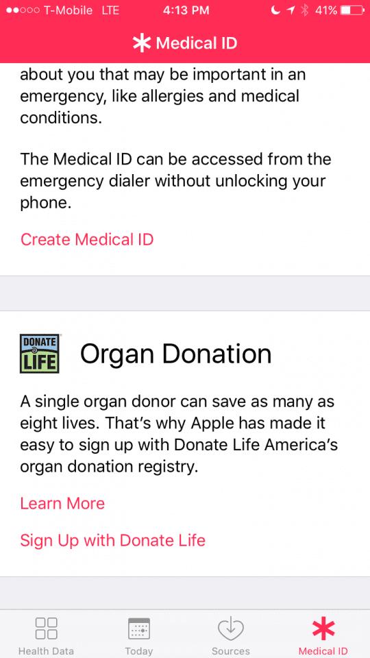 Medical Id in IOS 10