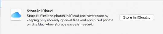iCloud Storage optimization macOS Sierra