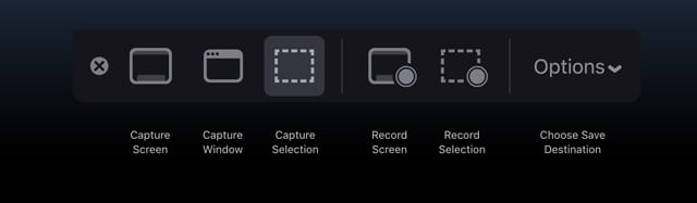 macOS Mojave screenshot toolbar