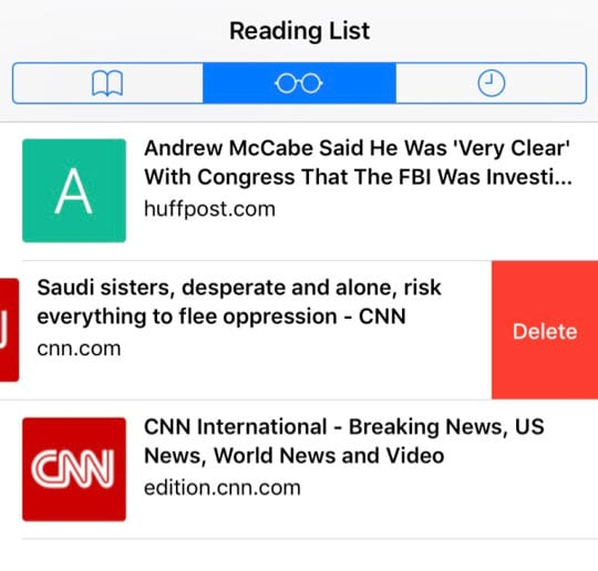 Safari reading list iOS delete an item from the offline reading list on iPhone