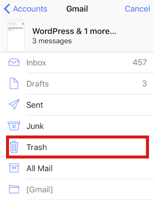 Trash All in iOS 10 e-mails
