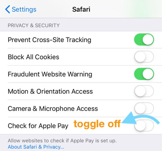 turn off safari check for Apple Pay on iPhone iPad