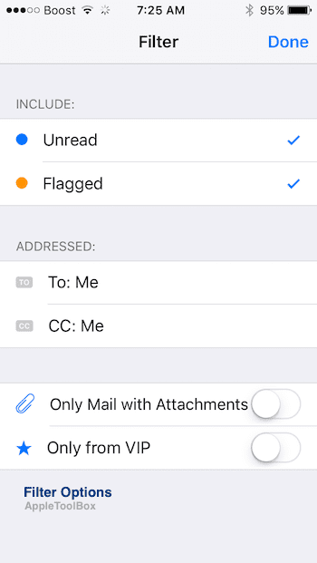 Changing iOS 10 Mail Filter Options