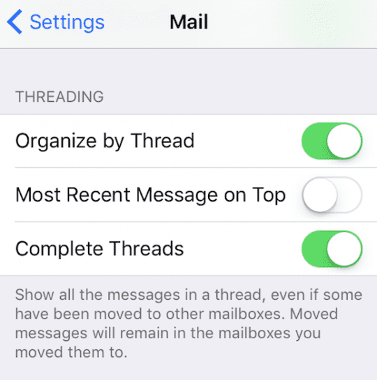 iOS 10 Mail Threading Options