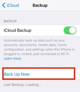 iCloud Backup Now iOS 10 Install