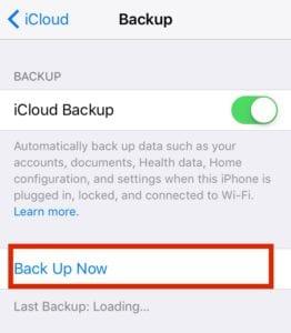 iCloud Backup Now iOS 10 Install