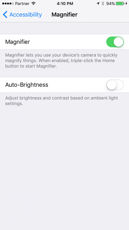 Enabling iOS 10 Magnifying glass Feature