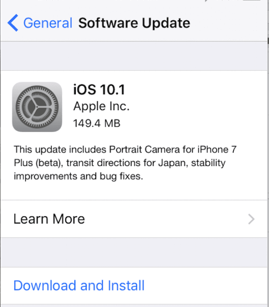 iOS 10.1 Update Available