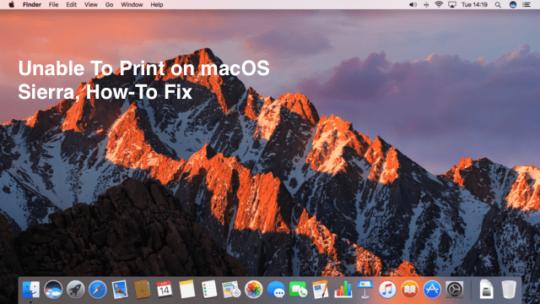 macOS Sierra Printing issues