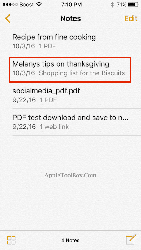 Note Saved to iCloud in iOS 10