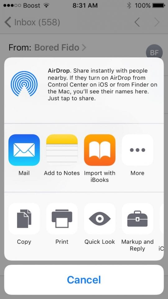 options available for mail attachment iOS 10