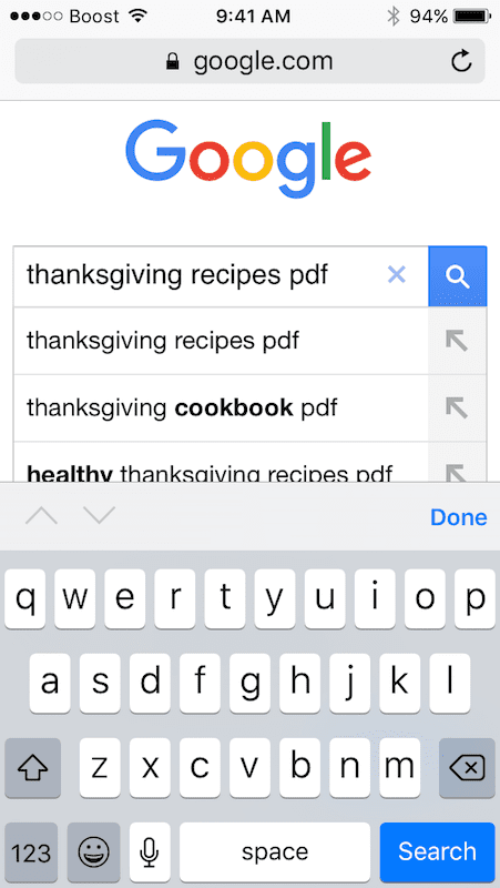 Searching for PDF in Google