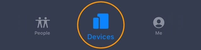 Find My app devices tab