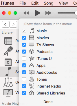 Enable podcasts in iTunes menu