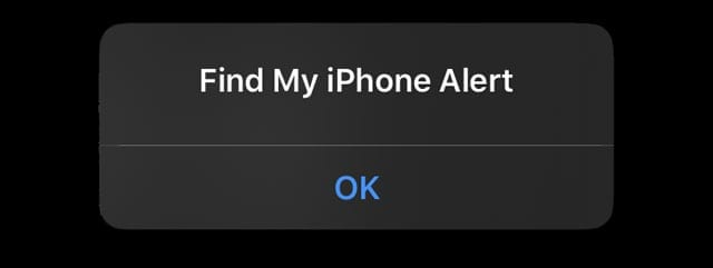 Find My iPhone Alert on iPhone