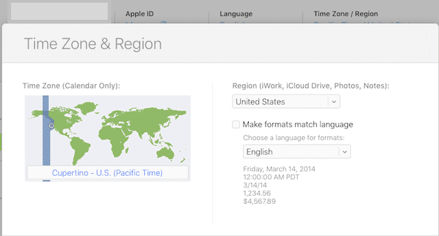 Setting Time Zone using iCloud.com