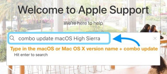 search for combo update at apple support website
