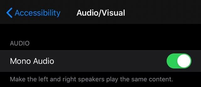 Accessibility Mono Audio setting