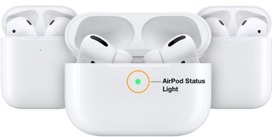 AirPods Pro and AirPods 2 status light location