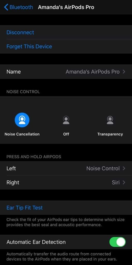 AirPods information in Bluetooth settings