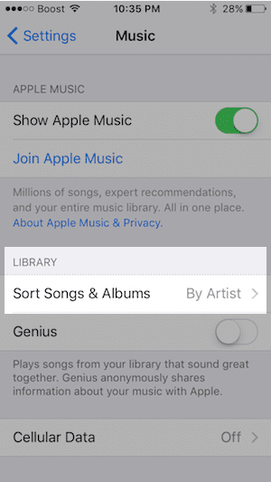 Sort songs in Apple Music on iPhone