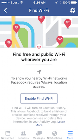 Enable Facebook find wi-fi on iPhone