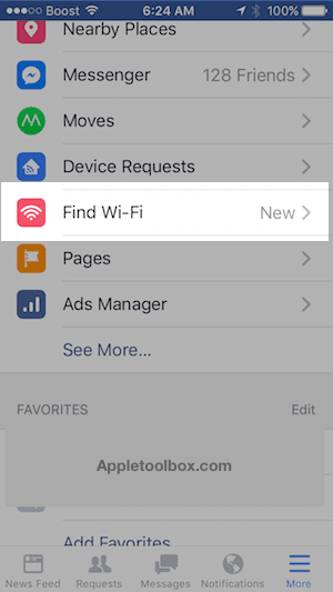 Find Wi-Fi in Facebook Settings
