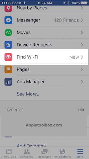 Find Wi-Fi in Facebook Settings