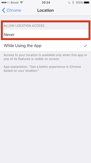 Stop location sharing in Chrome on iPhone