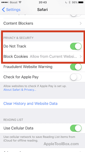 Set up Do Not Track on iPhone