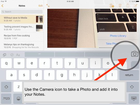 Camera in Notes app