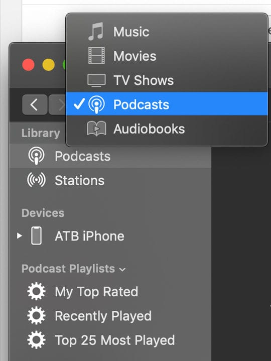 iTunes source list
