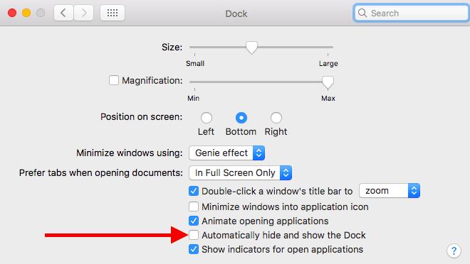 macOS Sierra Dock Settings