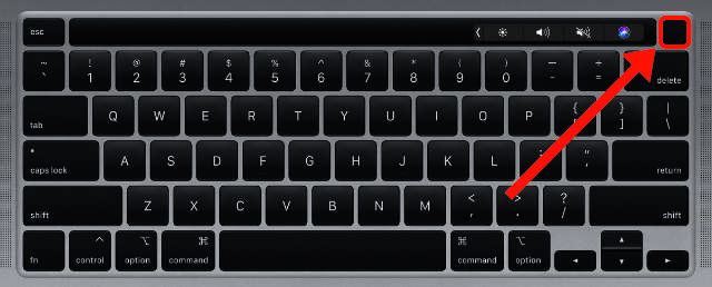 MacBook keyboard highlighting Touch ID power button