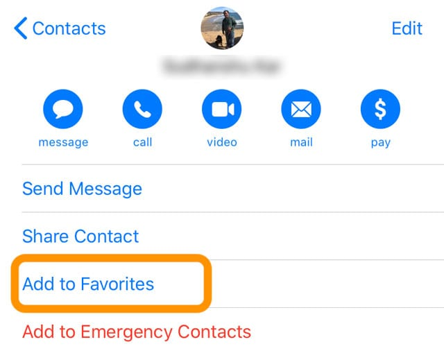 add to favorites in Contacts app iPhone and iPad