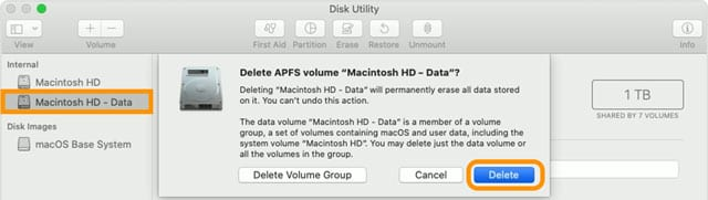 delete a mac volume start up disk in macOS Catalina and above